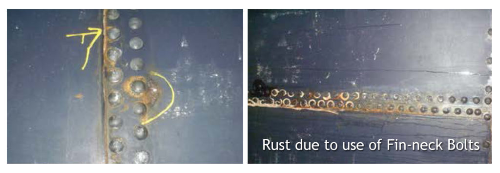 Image of Rust on Glass Fused to Steel Storage Tank