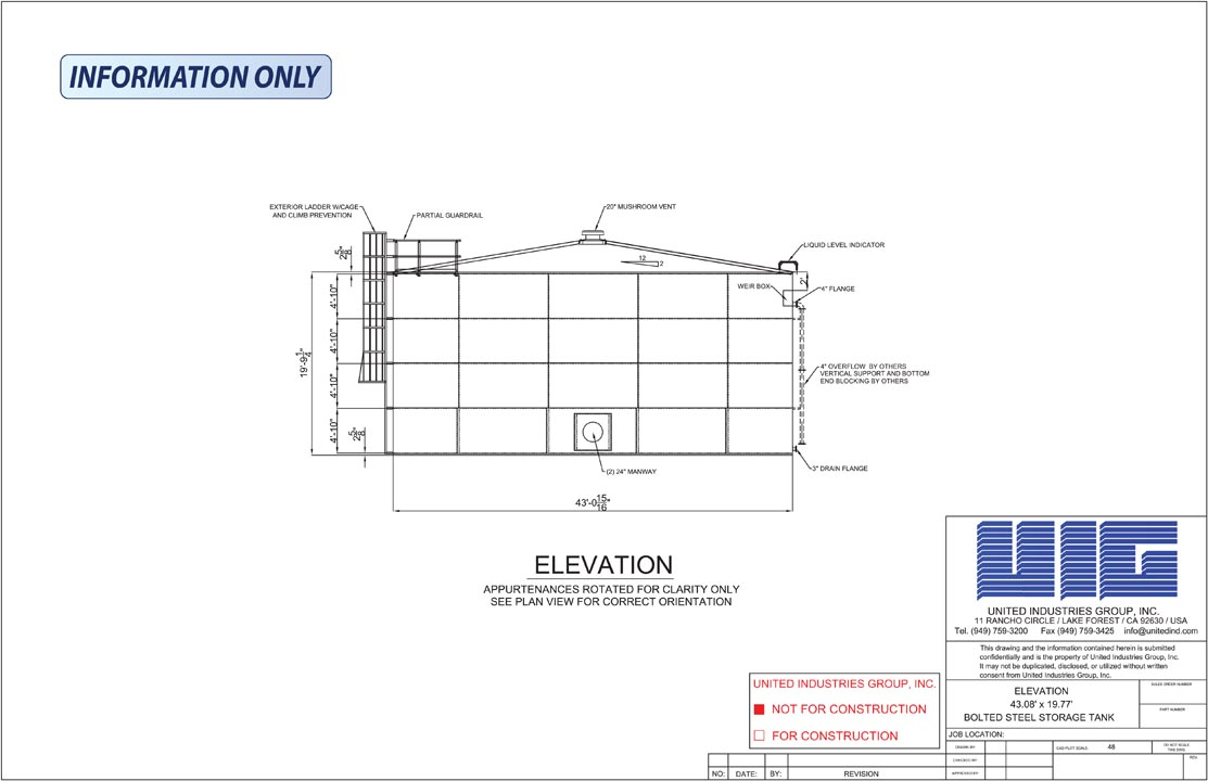 UIG Bolted Storage Tanks Drawings for Specs | UIG Tanks