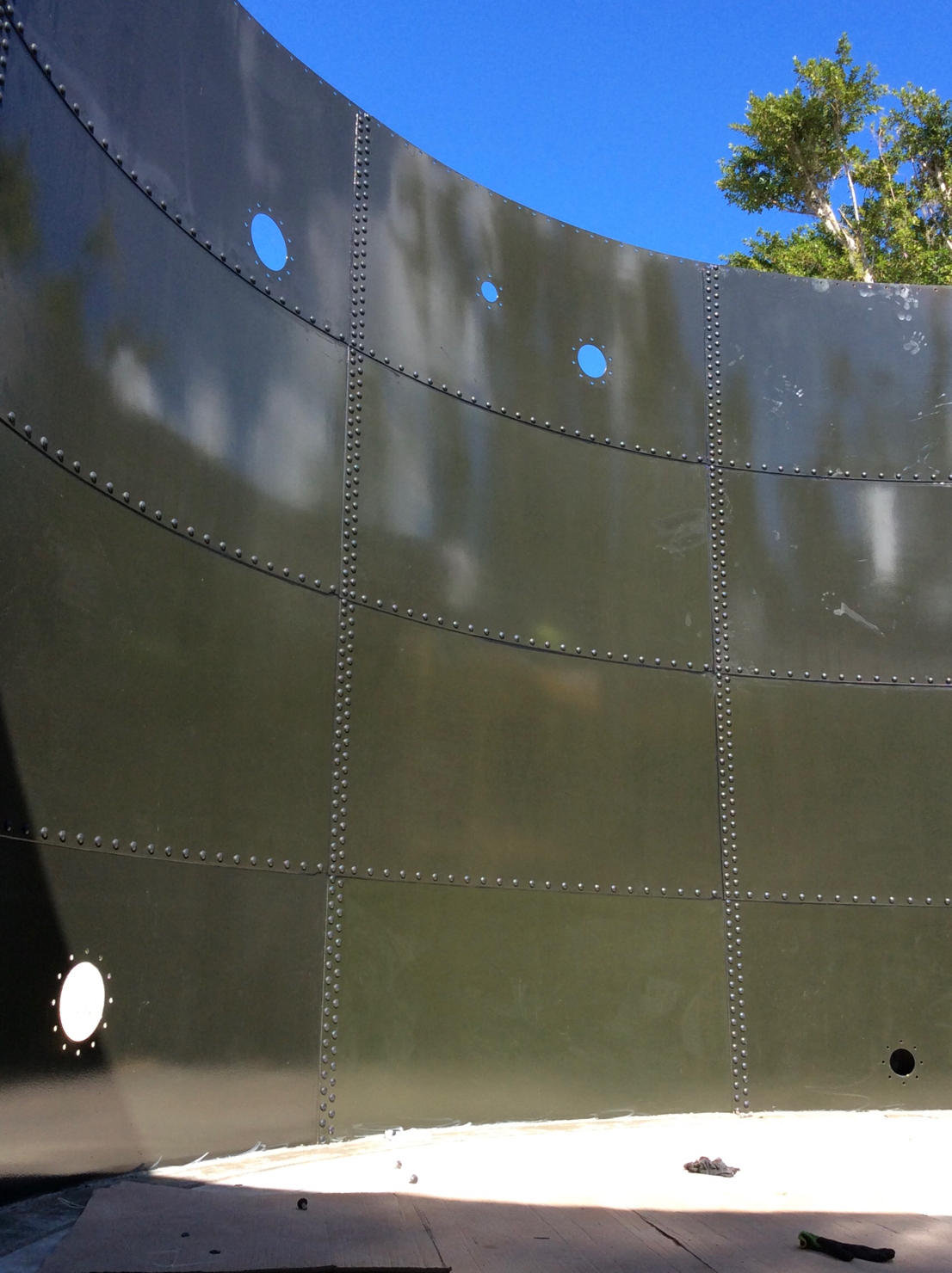 Green Glass Fused to Steel Tank panels with openings