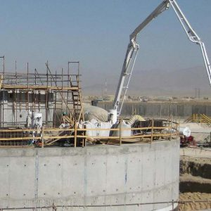 Crane and supports for a welded steel tank