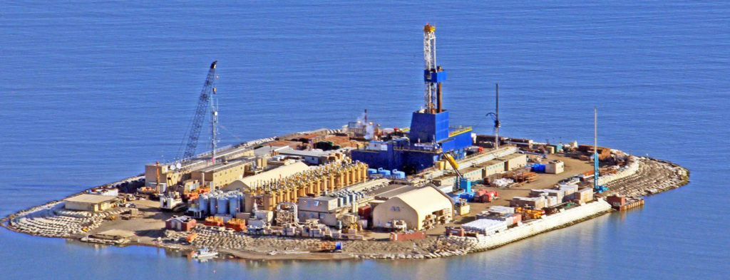 Storage Tanks and buildings on an island in Alaska