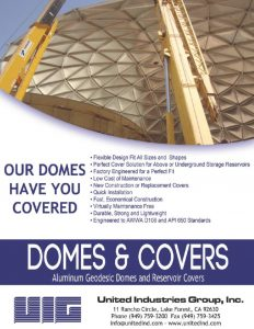 Large Aluminum Geodesic Dome lifted on an epoxy bolted water tank