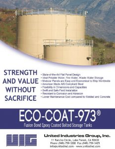 Flyer with two epoxy coated bolted tanks and mountains.