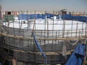 Field Welded Storage Tank with scaffolding