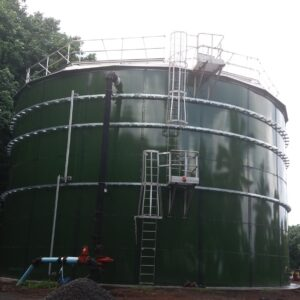 Green Glass Lined Bolted Tank with safety ladder