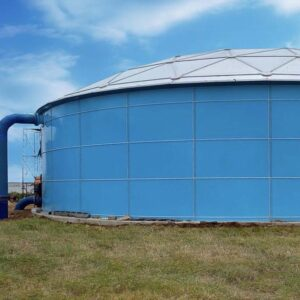 Sky Blue Epoxy Bolted Tank with ladder and piping