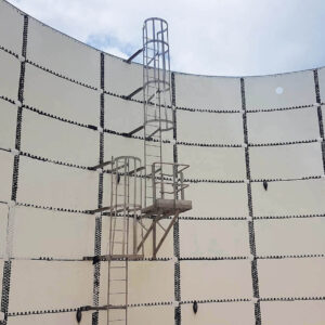 Cathodic protection hang inside a glass lined bolted tank