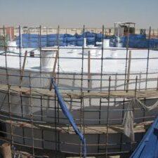 Field Welded Storage Tank with scaffolding
