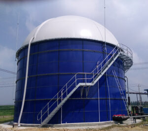 Glass Lined Bolted Biogas Tank with inflated dome and spiral staircase