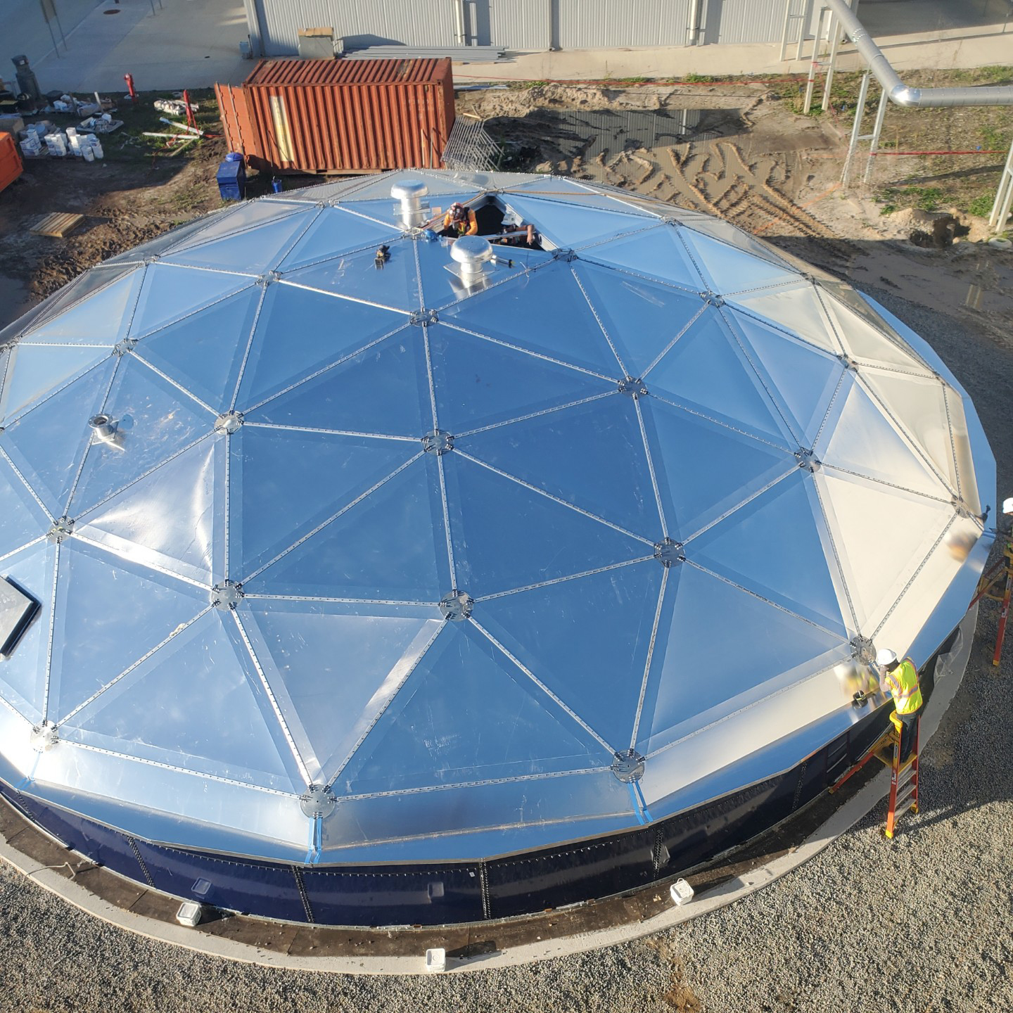 Overhead view of an Aluminum Geodesic Dome Roof
