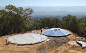 Steel Tank Floor on concreted pad and Aluminum Dome roof